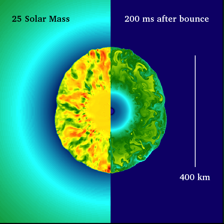 A simulation of the onset of a core-collapse supernovae in a 25 solar mass star at 200ms after core bounce.  Credit: Josh Dolence